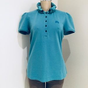 BURBERRY BRIT RUCHED COLLAR POLO.
